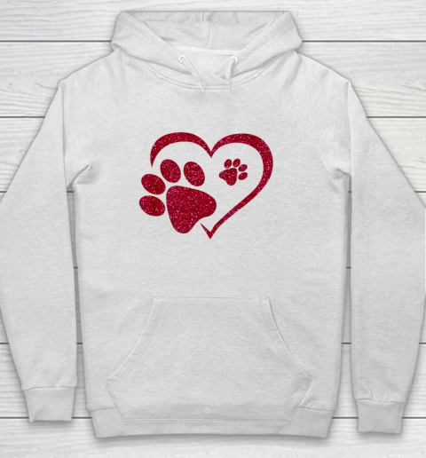 Paw Print Heart Dog Cat Owner Lover Girl Valentine Day Hoodie
