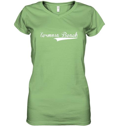 lyrq hermosa beach baseball softball styled women v neck t shirt 39 front lime