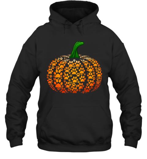 Funny Pumpkin Dog Cat Paw Print Halloween Hoodie