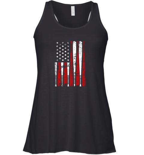 VIntage Baseball Bat American USA Flag Gift Racerback Tank