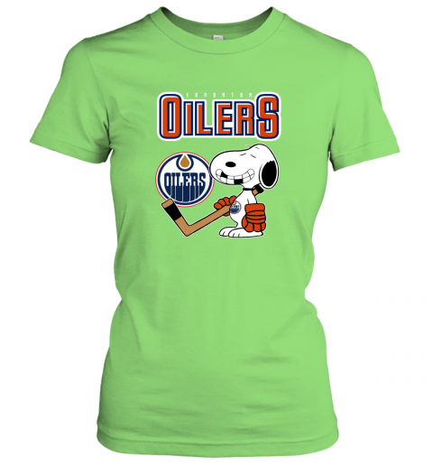 mutj edmonton oilers ice hockey broken teeth snoopy nhl shirt ladies t shirt 20 front lime