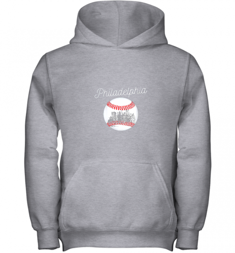 qs54 philadelphia baseball philly tshirt ball and skyline design youth hoodie 43 front sport grey