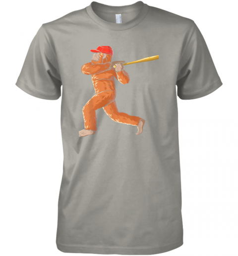 jslr bigfoot baseball sasquatch playing baseball player premium guys tee 5 front light grey