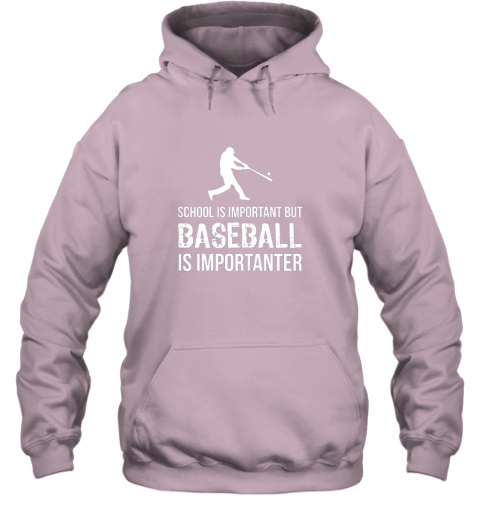 wmpu school is important but baseball is importanter gift hoodie 23 front light pink