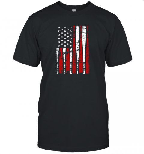 VIntage Baseball Bat American USA Flag Gift Unisex Jersey Tee
