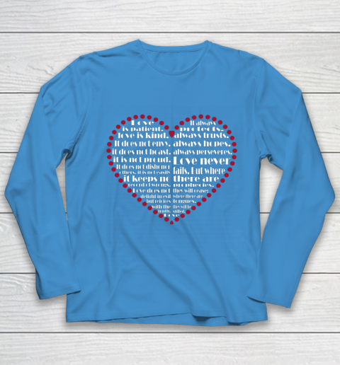 Love is patient love is kind Valentine Hearts Valentines day Youth Long Sleeve 5
