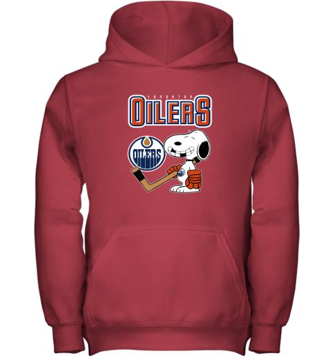 55kv edmonton oilers ice hockey broken teeth snoopy nhl shirt youth hoodie 43 front red