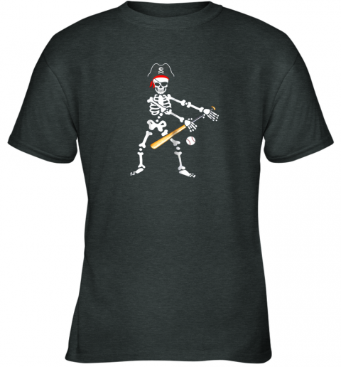 wb7n skeleton pirate floss dance with baseball shirt halloween youth t shirt 26 front dark heather