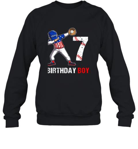 Kids 7 Years Old 7th Birthday Baseball Dabbing Shirt Gift Party Sweatshirt