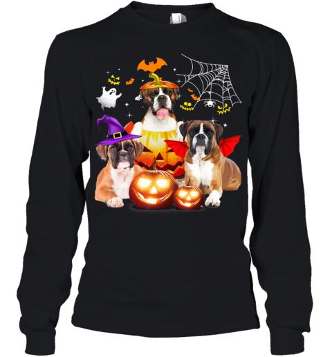 Three Boxer Dog Halloween Jack O Lantern Pumpkin Witch Youth Long Sleeve