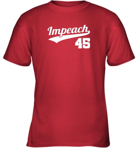 v46i impeach donald trump 45 baseball logo youth t shirt 26 front red