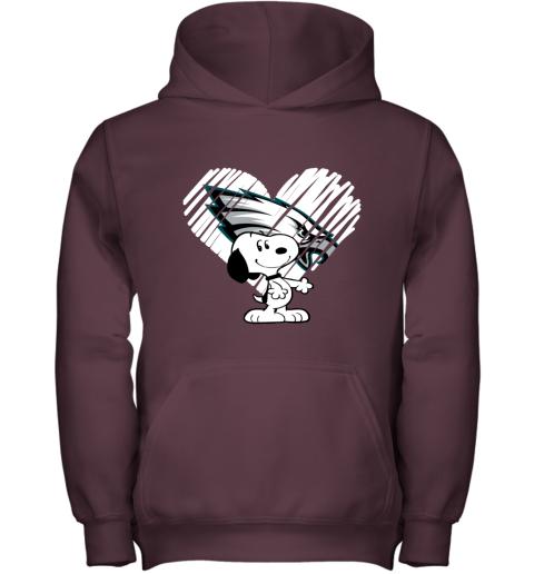 hdtu i love philadelphia eagles snoopy in my heart nfl youth hoodie 43 front maroon