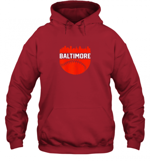 j82h vintage downtown baltimore maryland skyline baseball hoodie 23 front red