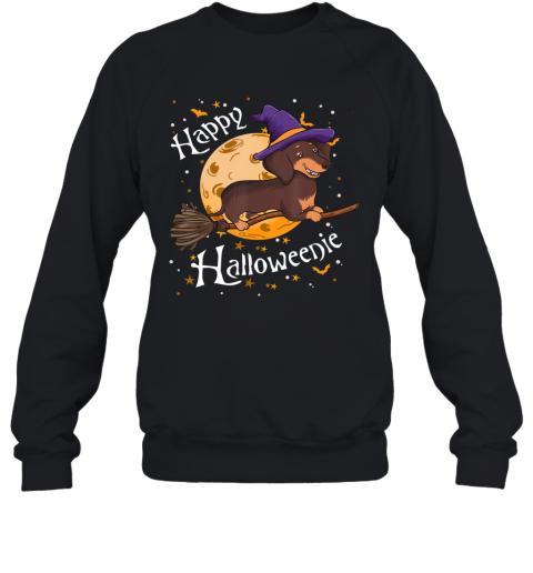 Happy Halloweenie Dachshund Dog Halloween Witch Wiener Broom Sweatshirt