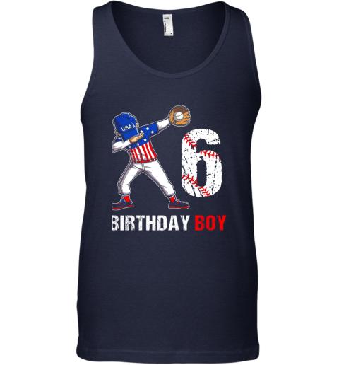 ql6o kids 6 years old 6th birthday baseball dabbing shirt gift party unisex tank 17 front navy