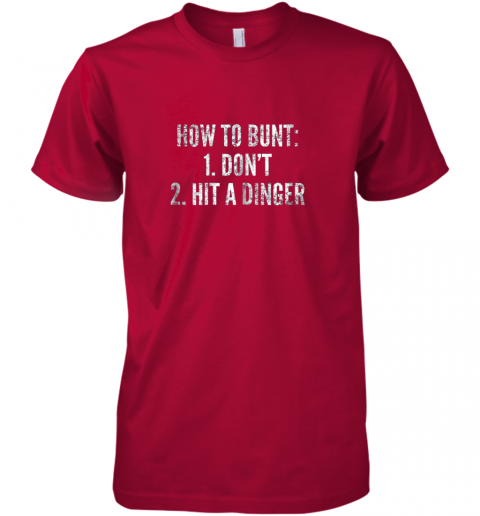 l240 how to bunt hit a dinger funny baseball player home run fun premium guys tee 5 front red
