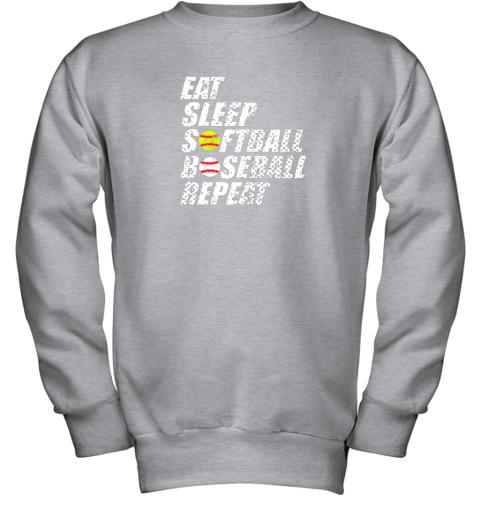 ypmz softball baseball repeat shirt cool cute gift ball mom dad youth sweatshirt 47 front sport grey