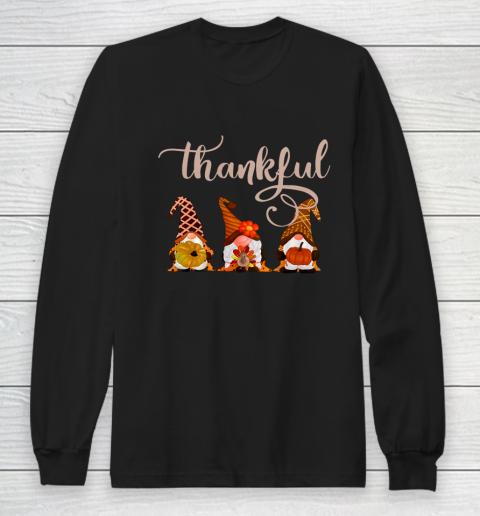 Cute Thanksgiving Thankful Gnomes Long Sleeve T-Shirt