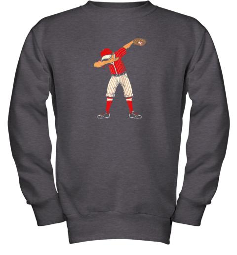 pray dabbing baseball catcher gift shirt kids men boys bzr youth sweatshirt 47 front dark heather