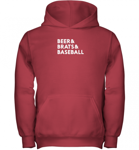 u3r8 beer brats baseball summer ampersand list youth hoodie 43 front red