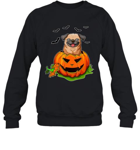 Halloween Pug Dog Lovers Pumpkin Grunge Jack O Lantern Sweatshirt