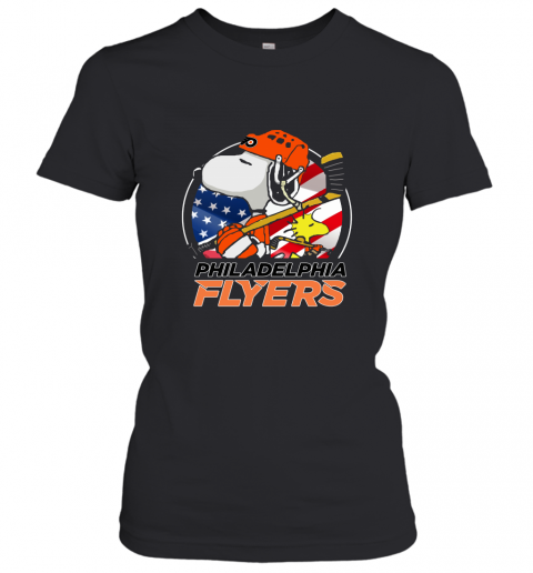 Philadelphia Flyers Ice Hockey Snoopy And Woodstock NHL Women's T-Shirt