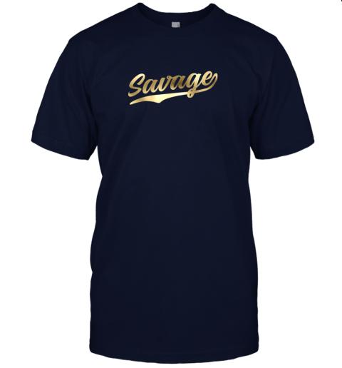 rj8n savage shirt retro 1970s baseball script font jersey t shirt 60 front navy