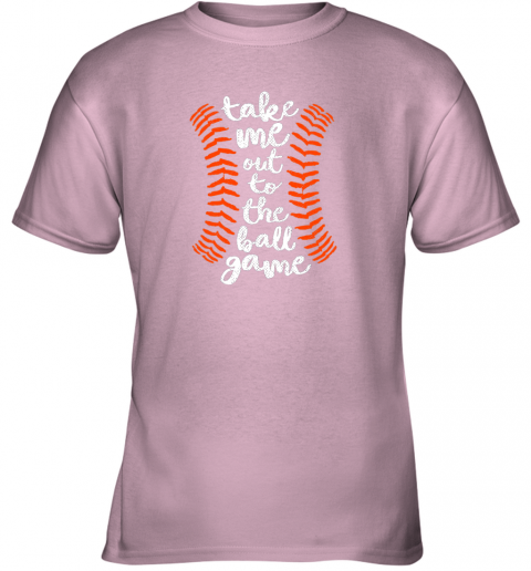 uvoz take me out ball game shirt baseball song orange black blue youth t shirt 26 front light pink