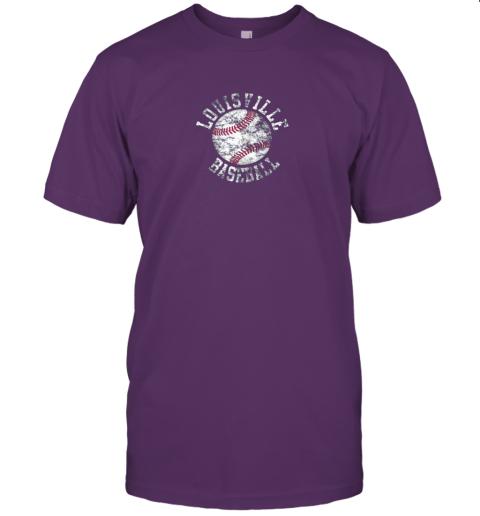 qo0u vintage louisville baseball jersey t shirt 60 front team purple