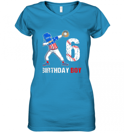 zp8o kids 6 years old 6th birthday baseball dabbing shirt gift party women v neck t shirt 39 front sapphire