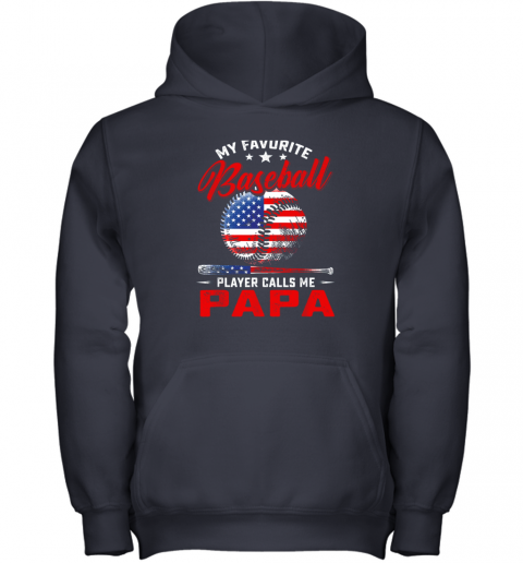 xbkp mens my favorite baseball player calls me papa shirt softball youth hoodie 43 front navy