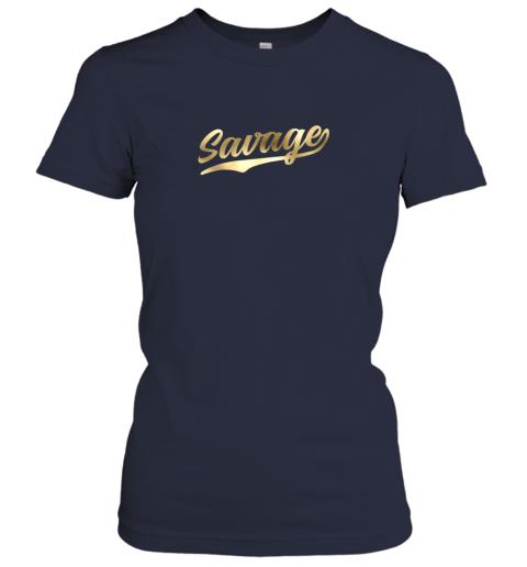 zxia savage shirt retro 1970s baseball script font ladies t shirt 20 front navy