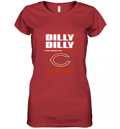 v0rk dilly dilly a true friend of the chicago bears women v neck t shirt 39 front red