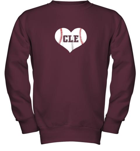 9iz4 cleveland ohio baseball love heart cle gift jersey fan youth sweatshirt 47 front maroon