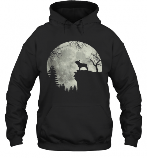 Frenchie dog moon howl in forest Halloween dog Frenchie Hoodie
