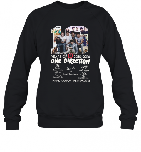 10 Years Of 1D 2010 2016 One Direction Thank You For The Memories Signatures Sweatshirt