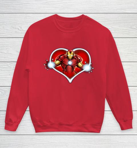 Marvel Iron Man Heart Blaster Glow Valentine Graphic Youth Sweatshirt 7