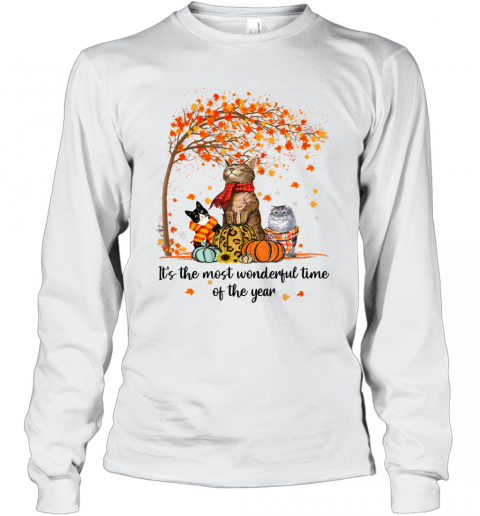 It's The Most Wonderful Time Of The Year Family Cats Autumn Long Sleeve T-Shirt