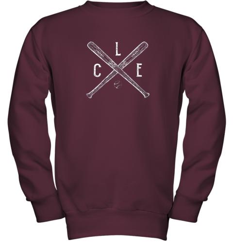 utge vintage cleveland baseball shirt cleveland ohio youth sweatshirt 47 front maroon