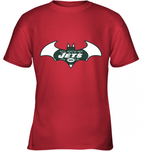 yafx we are the new york jets batman nfl mashup youth t shirt 26 front red