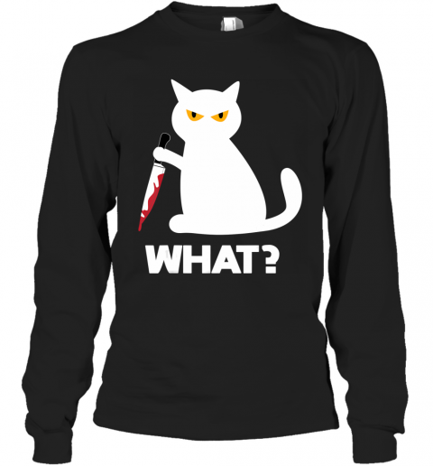 Killer Cat Bloody Knife Costume Funny Animal Halloween Gifts Long Sleeve T-Shirt