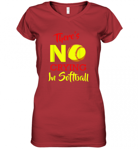 4ixs there39 s no crying in softball baseball coach player lover women v neck t shirt 39 front red
