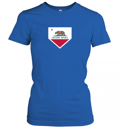 shvv vintage baseball home plate with california state flag ladies t shirt 20 front royal