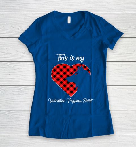 This Is My Valentine Pajama Shirt Wolf Valentines Day Women's V-Neck T-Shirt 7