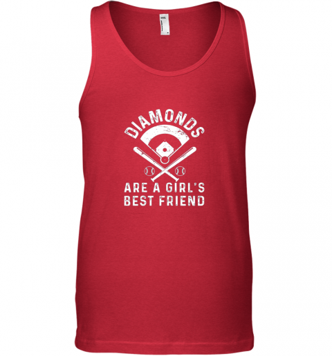 yzeh diamonds are a girl39 s best friend baseball unisex tank 17 front red