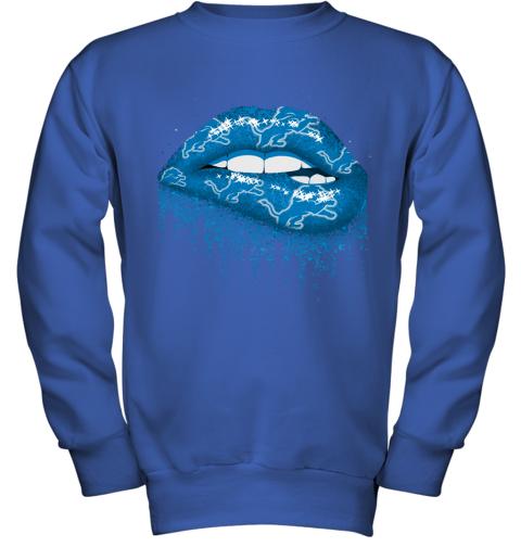 Biting Glossy Lips Sexy Detroit Lions NFL Football Youth Sweatshirt