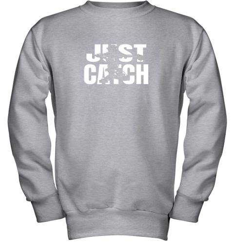 x02p just catch baseball catchers long sleeve shirt baseballisms youth sweatshirt 47 front sport grey