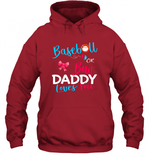 5rmb mens baseball gender reveal team baseball or bow daddy loves you hoodie 23 front red