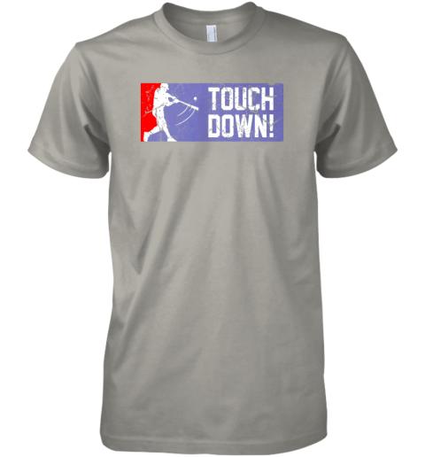0p8j touchdown baseball funny family gift base ball premium guys tee 5 front light grey