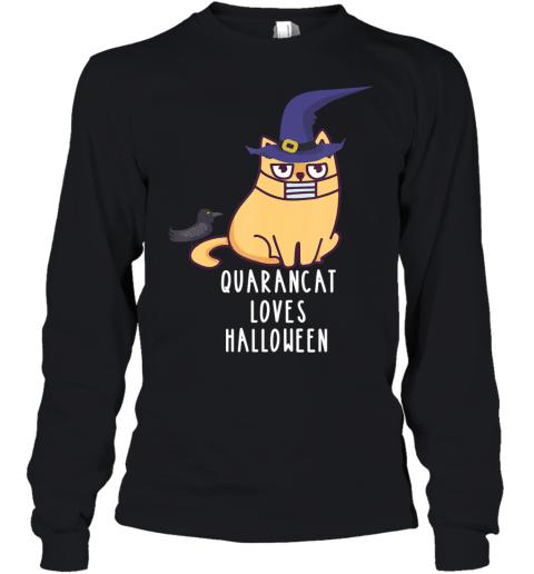 Quarancat Quarantine Cat Anti Halloween Funny Sarcasm Quote Youth Long Sleeve